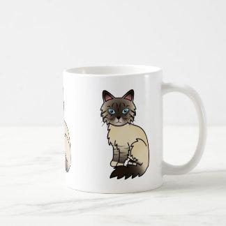 Försegla pekar tabbyen Birman/den Ragdoll katten Kaffemugg