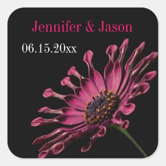 Förseglar purpurfärgat afrikanskt daisybröllop för fyrkantigt klistermärke