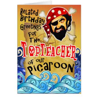 Försenade piratfödelsedagkort för lärare hälsningskort