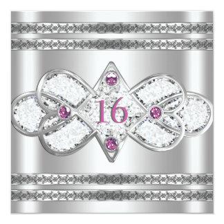 Förskönad elegant silverinbjudan fyrkantigt 13,3 cm inbjudningskort