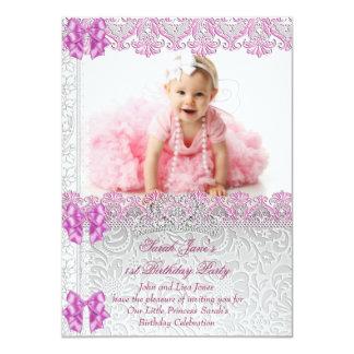 Först 1st födelsedagsfestflickaPrincess Rosa Foto 11,4 X 15,9 Cm Inbjudningskort