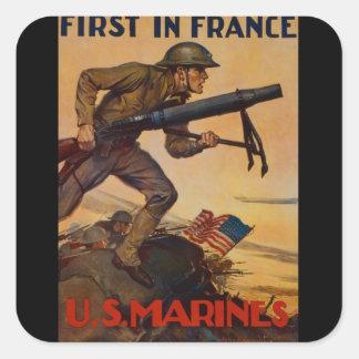 Först i frankriken fyrkantigt klistermärke