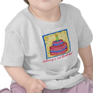 Första (1st) skjorta för födelsedagtårtautslagspla tshirts