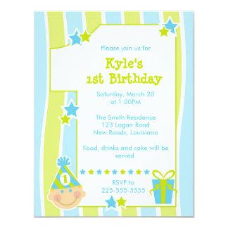 Första födelsedag 10,8 x 14 cm inbjudningskort