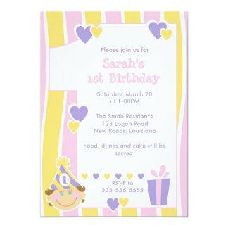 Första födelsedag 12,7 x 17,8 cm inbjudningskort
