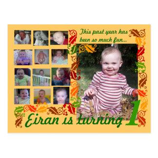 Första födelsedag bilder för 12 månader vykort