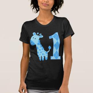 Första födelsedag för blåttgiraff tee shirts