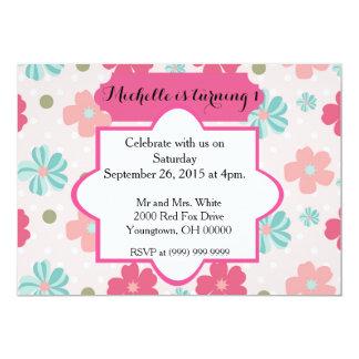 Första födelsedag för flicka 12,7 x 17,8 cm inbjudningskort