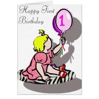 Första födelsedag för lycklig - FLICKA Hälsningskort