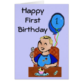 Första födelsedag för lycklig * pojke hälsningskort