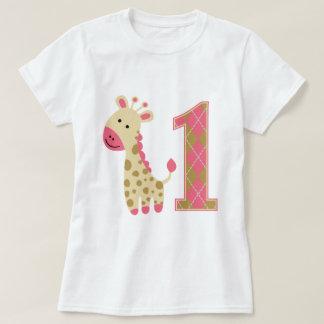 Första födelsedag för rosa giraff tee shirt