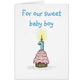 Första födelsedag från förälderkort hälsningskort