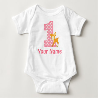 Första födelsedagflickahjort t-shirt