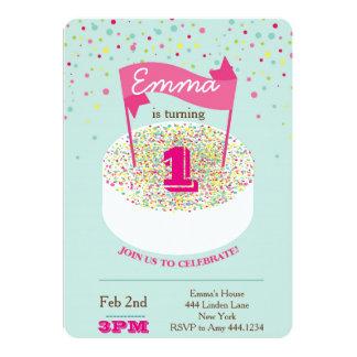 Första födelsedaginbjudan 12,7 x 17,8 cm inbjudningskort