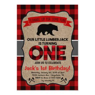 Första födelsedaginbjudan för Lumberjack 12,7 X 17,8 Cm Inbjudningskort