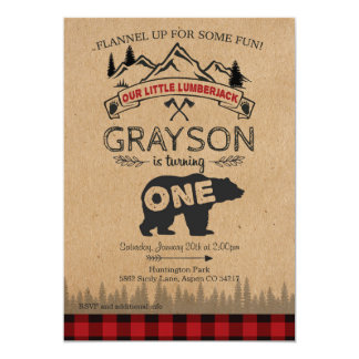 Första födelsedaginbjudan för Lumberjack - björn 12,7 X 17,8 Cm Inbjudningskort