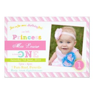 Första födelsedaginbjudan, fotofödelsedaginbjudan 12,7 x 17,8 cm inbjudningskort