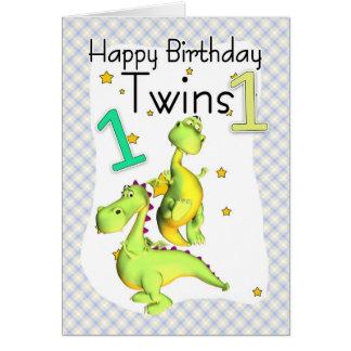 Första födelsedagkort för twillingar - gulliga hälsningskort