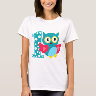 Första födelsedaglyckliguggla tee shirt