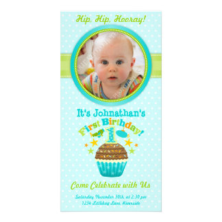 Första födelsedagmuffin (pojken) foto kort