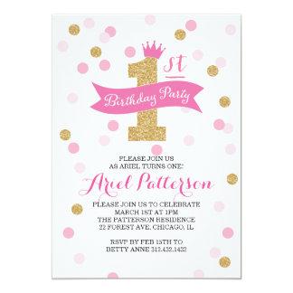 Första födelsedagPrincess för födelsedagsfest   12,7 X 17,8 Cm Inbjudningskort
