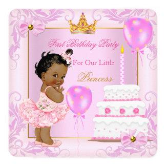 Första födelsedagPrincess Tiara Flicka Rosa Person Fyrkantigt 13,3 Cm Inbjudningskort