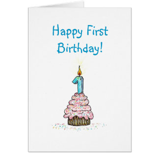 Första födelsedagreligiösakort hälsningskort