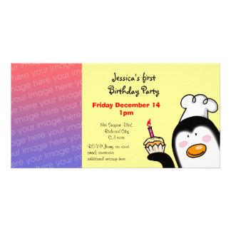 Första födelsedagsfestinbjudan (födelsedagmuffinen anpassade foto kort