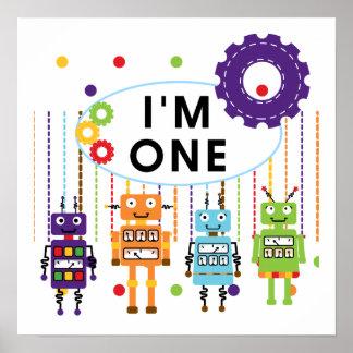 Första födelsedagTshirts och gåvor för robot Poster