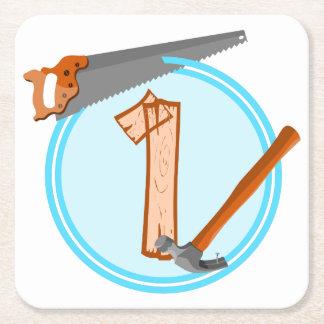 Första för verktygkonstruktion för födelsedag 1 underlägg papper kvadrat