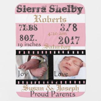 Första foto filmar filten för remsapersonligbabyen bebisfilt