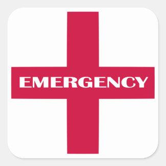 Första hjälptillförsel/nöd- sats fyrkantigt klistermärke