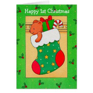Första jul för lycklig - hälsningkort hälsnings kort