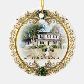 Första jul i ny hem- prydnad rund julgransprydnad i keramik