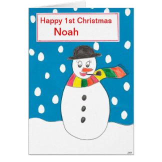 Första jul Noah för lycklig Hälsningskort
