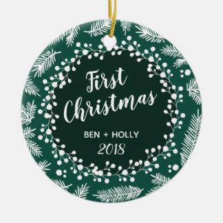 Första jul som gifta sig evergreenpersonlig julgransprydnad keramik
