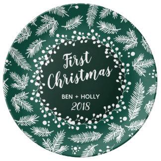 Första jul som gifta sig evergreenpersonlig porslinstallrik