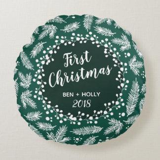 Första jul som gifta sig evergreenpersonlig rund kudde