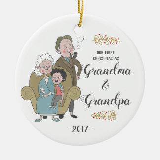Första jul som mormor- och morfarprydnad julgransprydnad keramik