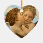 Första kyss vid Bouguereau, vintageVictorianänglar Jul Dekorationer