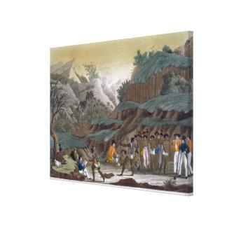 Första möte av franska utforskare med Indigenen Canvastryck