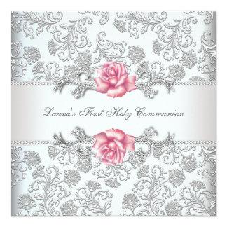 Första nattvardsgång för damastast rosa rosflickor fyrkantigt 13,3 cm inbjudningskort
