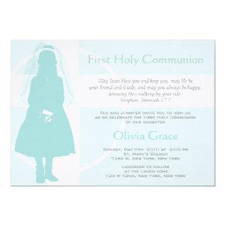 Första nattvardsgång och meddelande - flicka 12,7 x 17,8 cm inbjudningskort