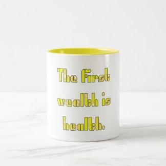 -första-rikedom-vara-vård- Två-Tonad mugg