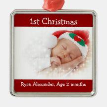 Första röda jul och vitfotoprydnad julgranskula