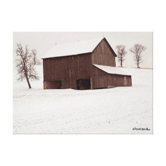 """""""Första snö"""" på kanfasoriginalkonstnär Canvastryck"""