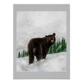 Första vildmark för berg för Snowfallsvartbjörn Poster
