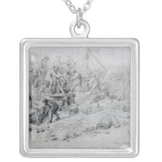 Förstora avkloppen på Moorfields, London, 1841 Silverpläterat Halsband