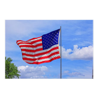 Förstoring för US-flaggafoto Fototryck
