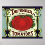 Försvararetomater, konst för etikett för vintagefr posters